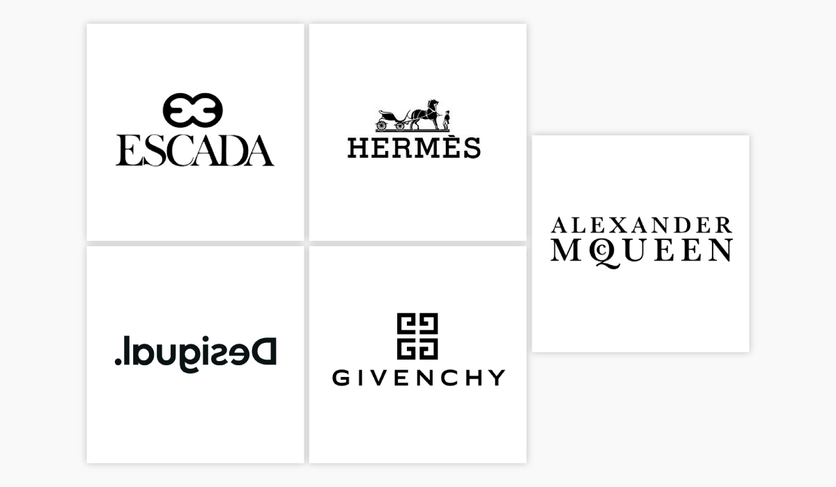 Five different logo ideas for a clothing brand.