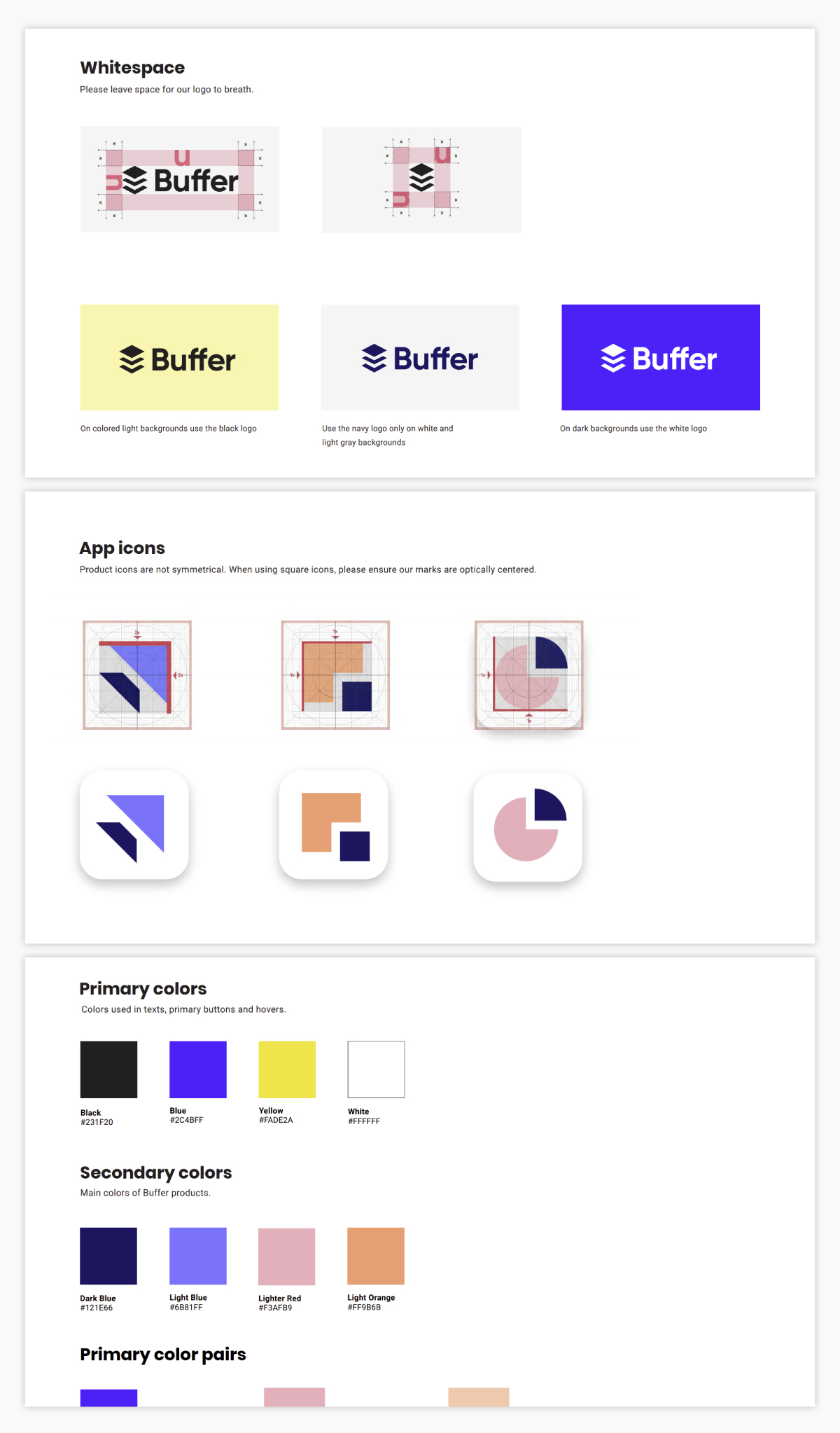 A screenshot of Buffer's brand guidelines.