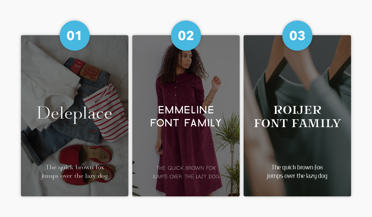 Three popular fonts to use in clothing brand logos.