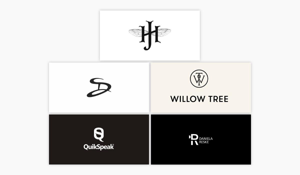 Five different monogram logo ideas.