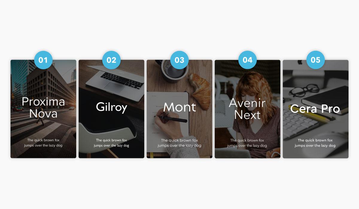 Examples of the fonts Proxima Nova, Gilroy, Mont, Avenir Next & Cera Pro.