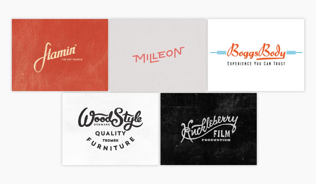 Five different retro logo ideas for inspiration.