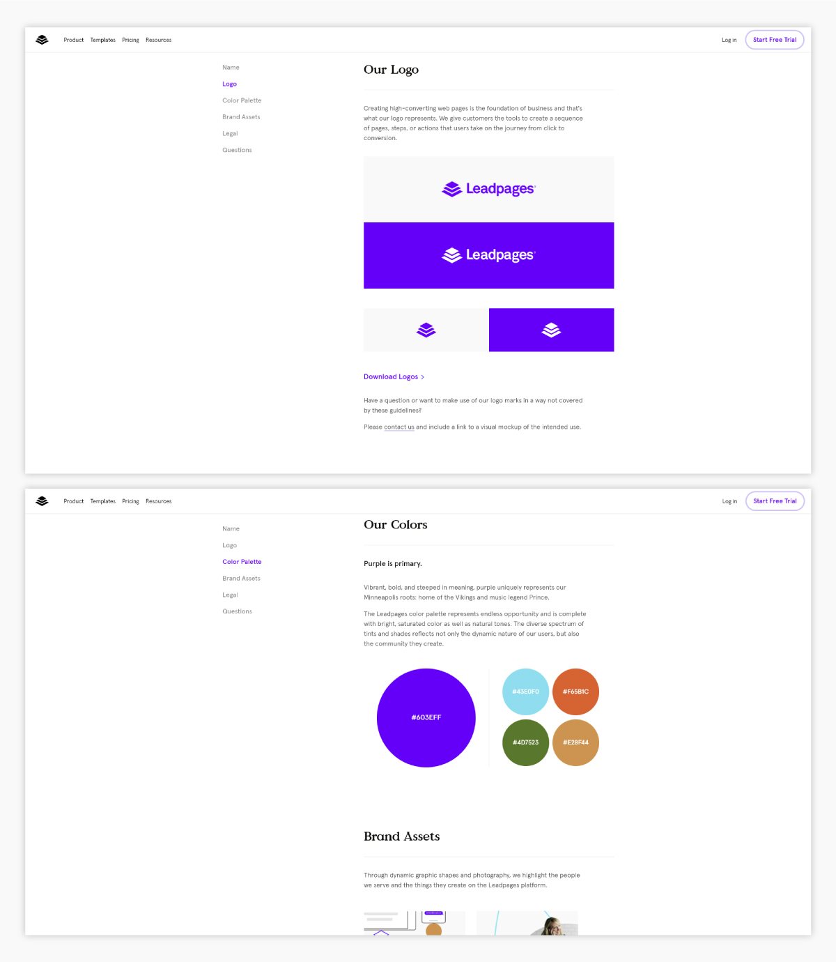 A screenshot of Leadpages's brand guidelines.