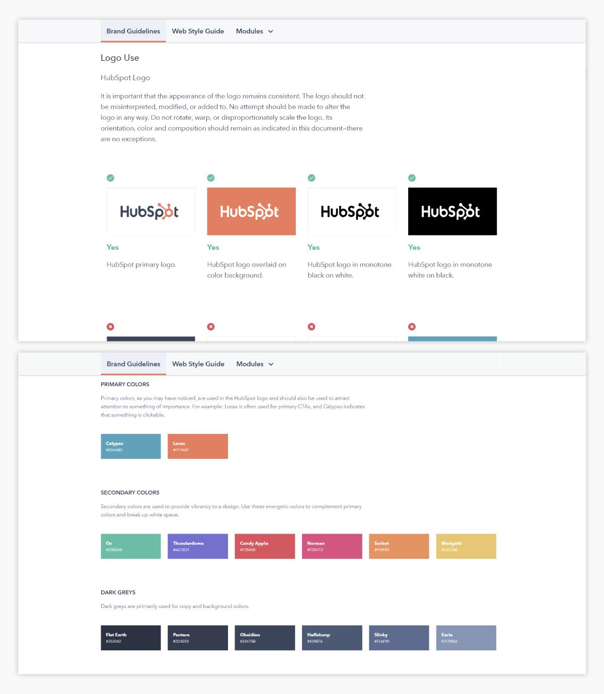 A screenshot of HubSpot's brand guidelines.