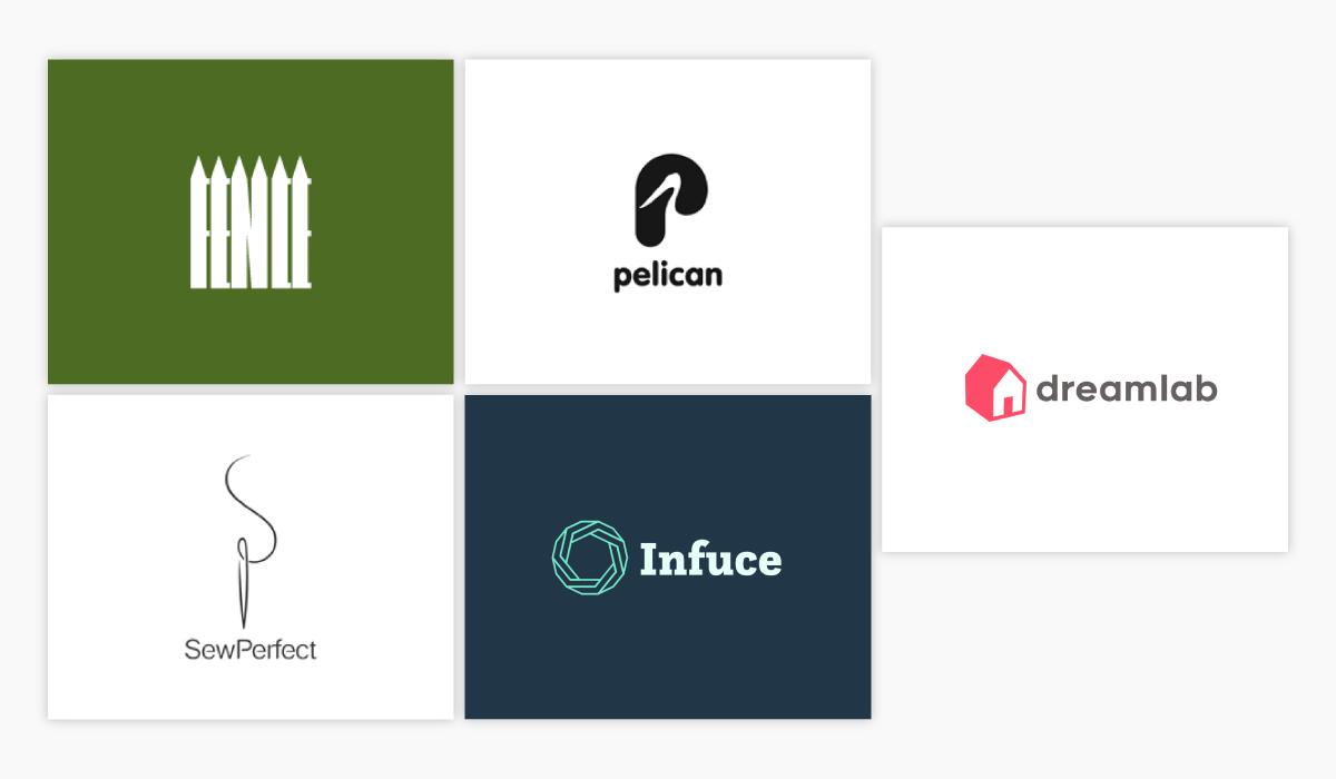 A collage of five minimalistic logo ideas.