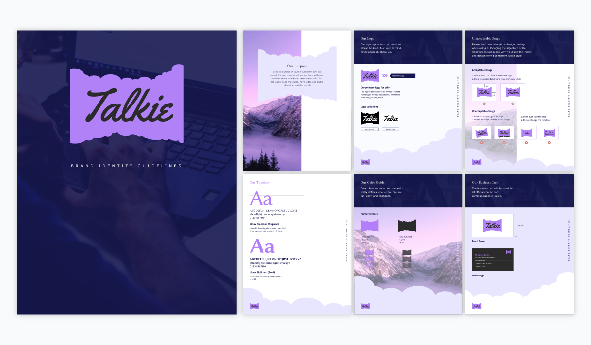 A purple monochromatic brand guidelines template available in Visme.