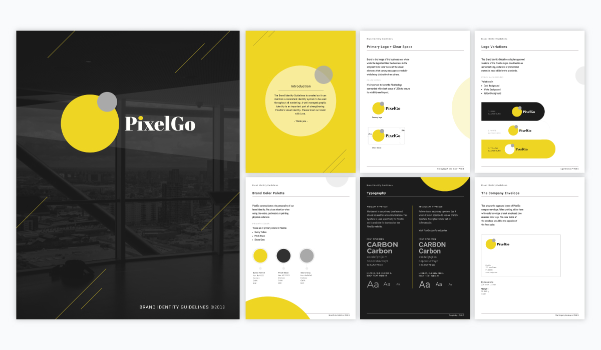 A yellow and black brand guidelines template available in Visme.