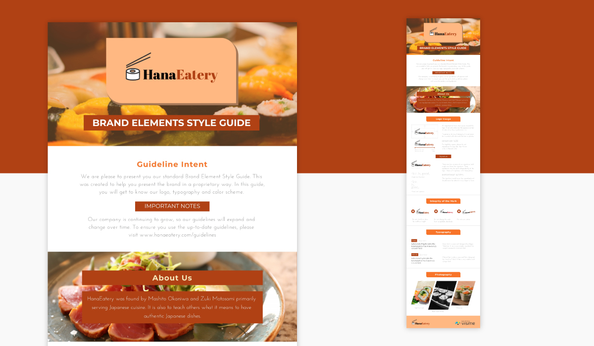 An orange and white infographic brand guidelines template available in Visme.