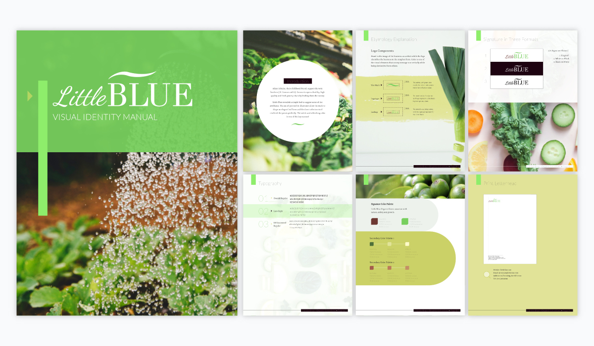 A green presentation brand guidelines template available in Visme.