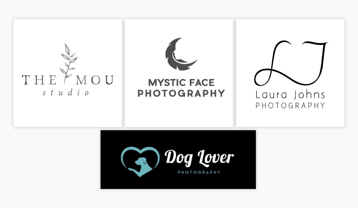 A collage of four photography logos for inspiration.