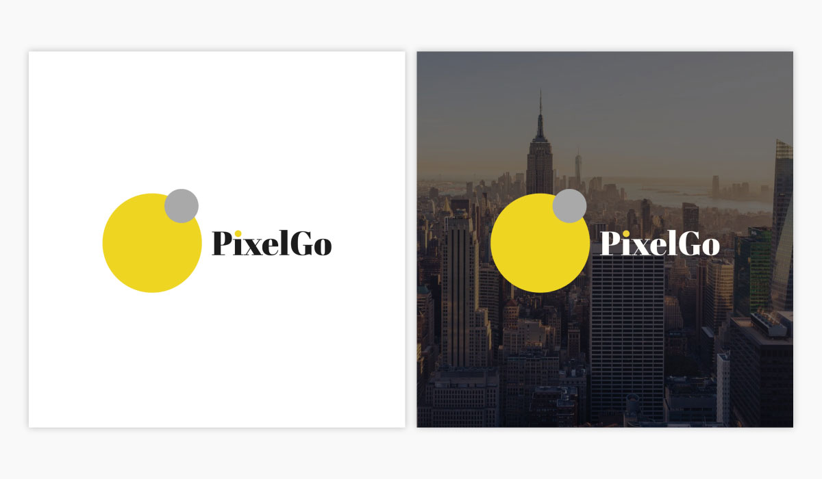 PixelGo logo template available in Visme.