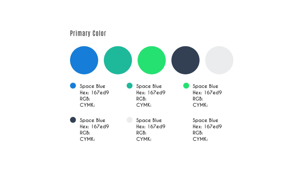 An example of the colors section of your brand guidelines.