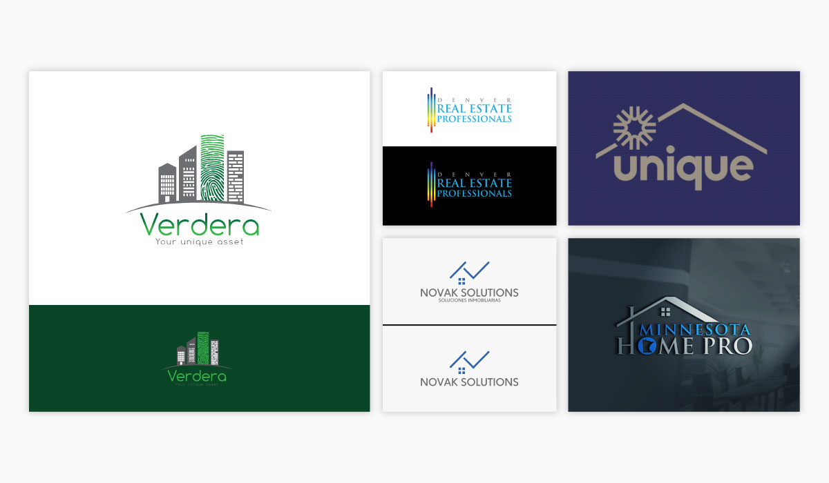 A collage of five different real estate logo ideas.