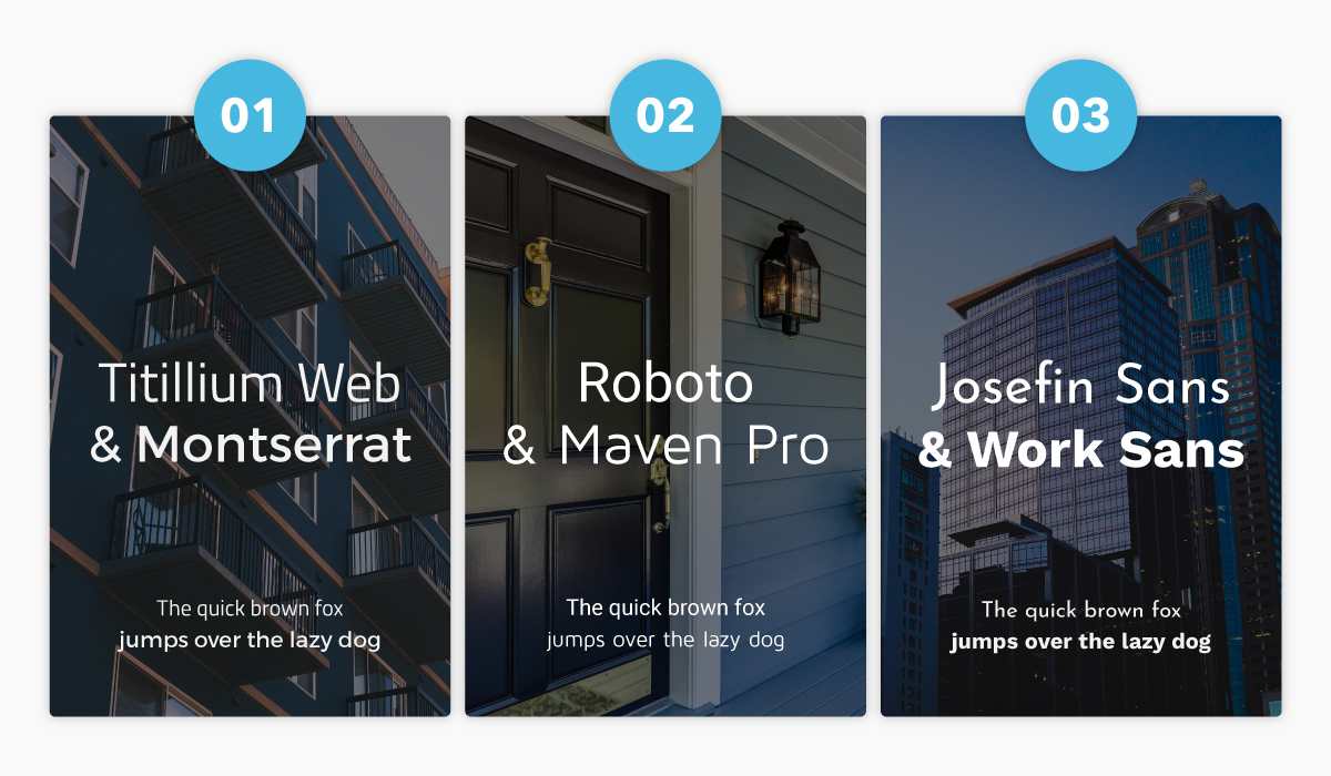 A collage showcasing three popular font pairings for real estate agencies.