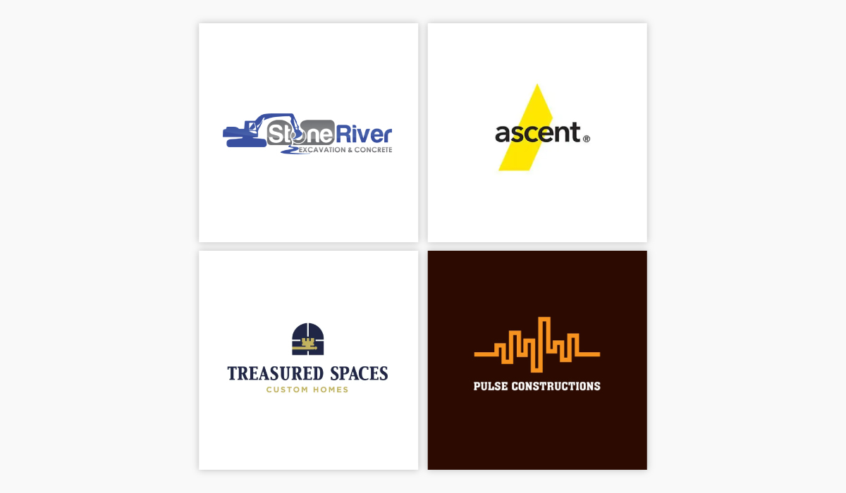 A collage of four construction logo ideas.
