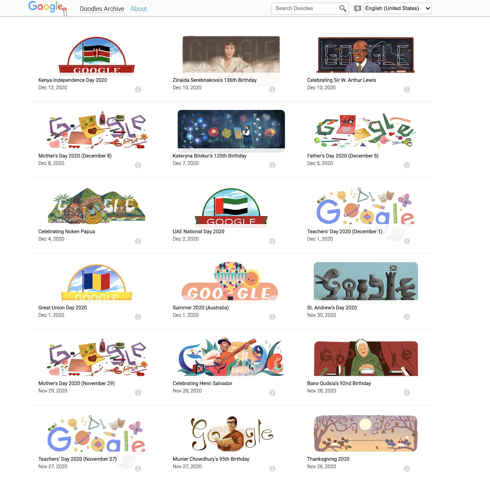 A screenshot of Google's past doodles.