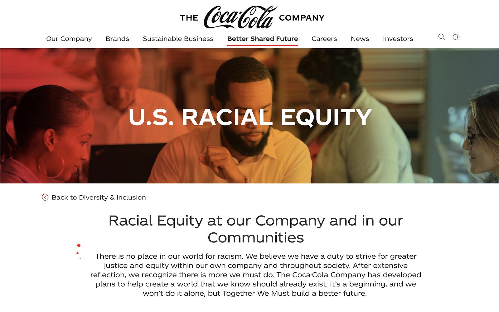 The Coca-Cola racial equity website.