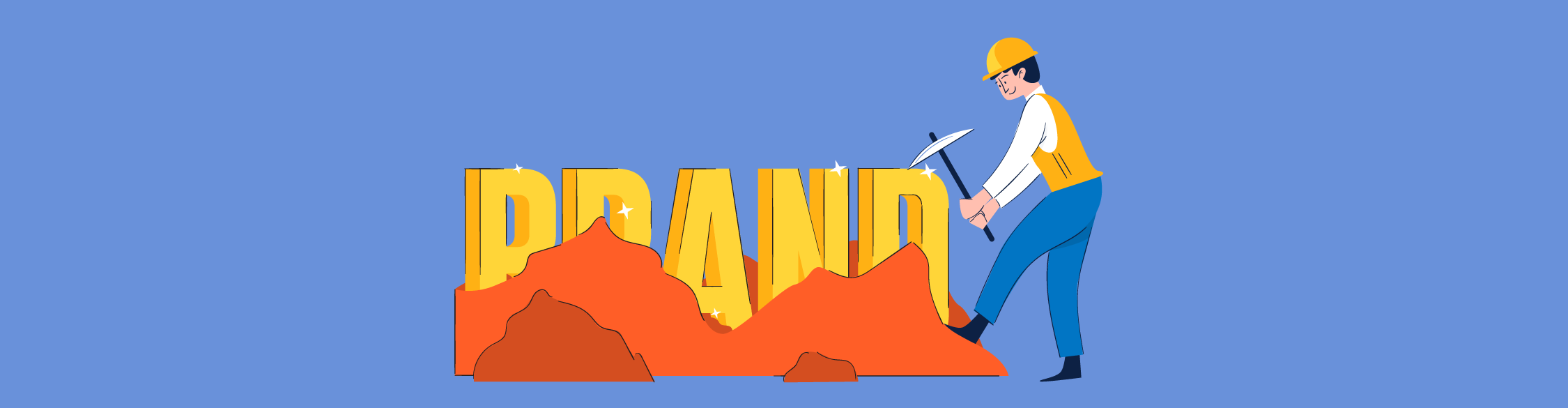 An illustration of a man hitting a brand with a pickaxe.