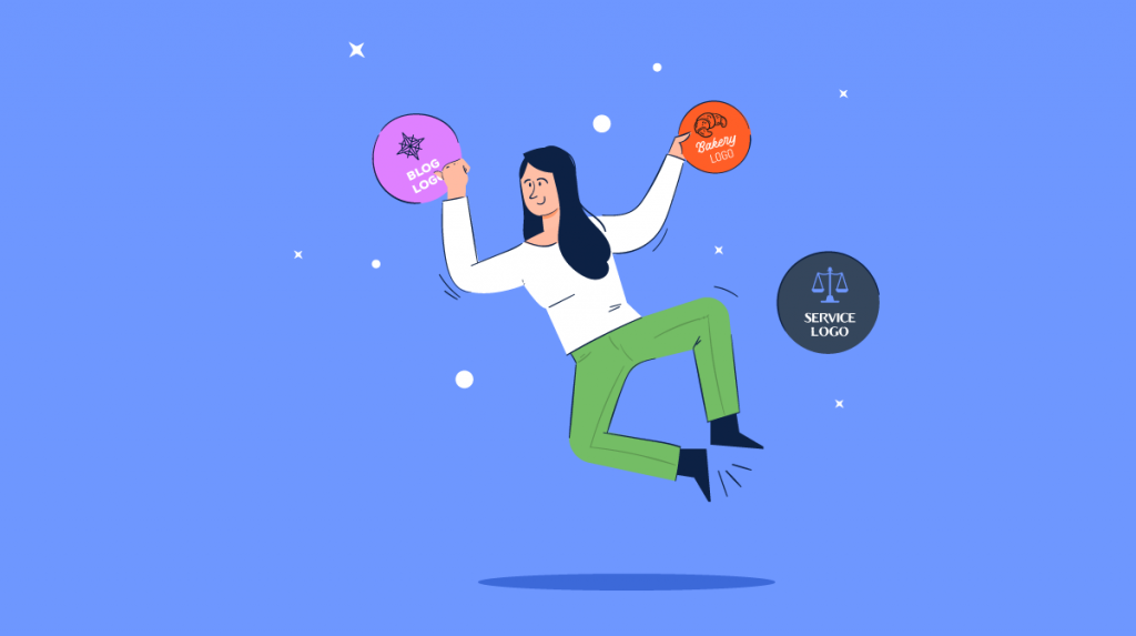 An illustration of a woman jumping up to grab a few logo ideas.