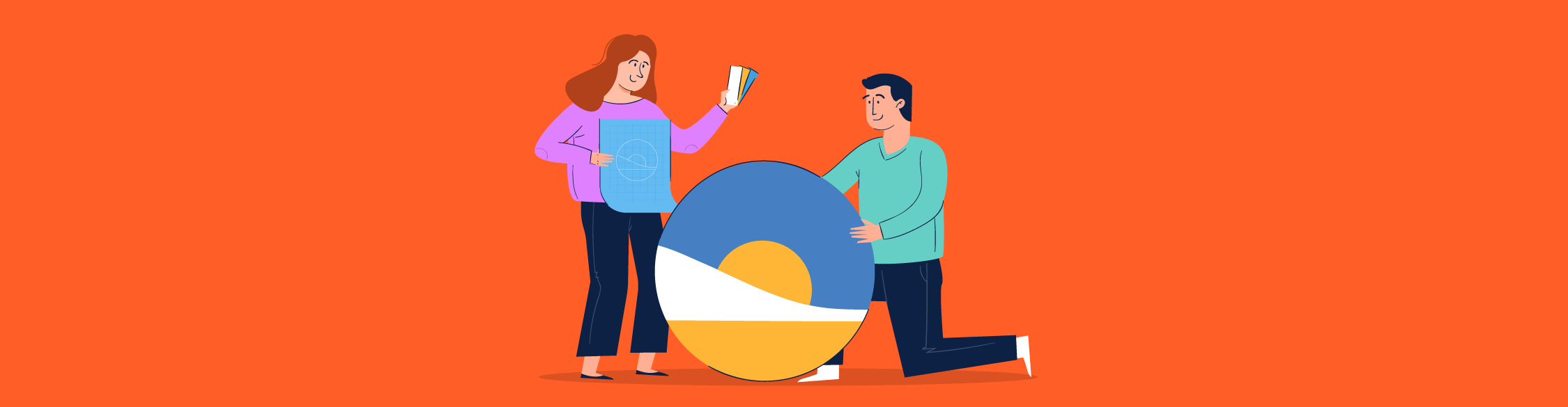 An illustration of a couple of people looking at color swatches and a logo.