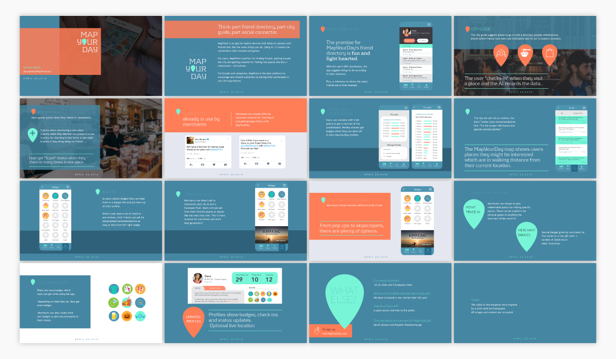 An elevator pitch presentation template available in Visme.