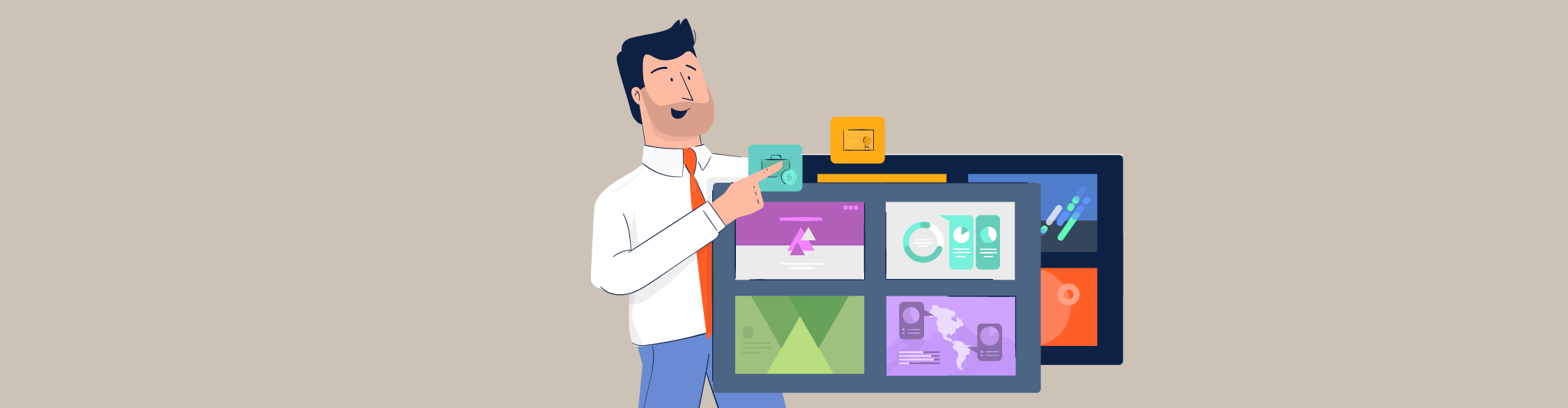An illustration of a man showcasing different types of presentations.