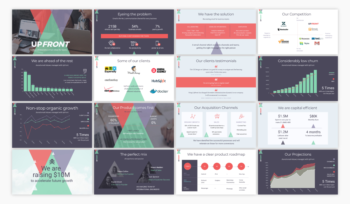 An investor pitch presentation template available in Visme.
