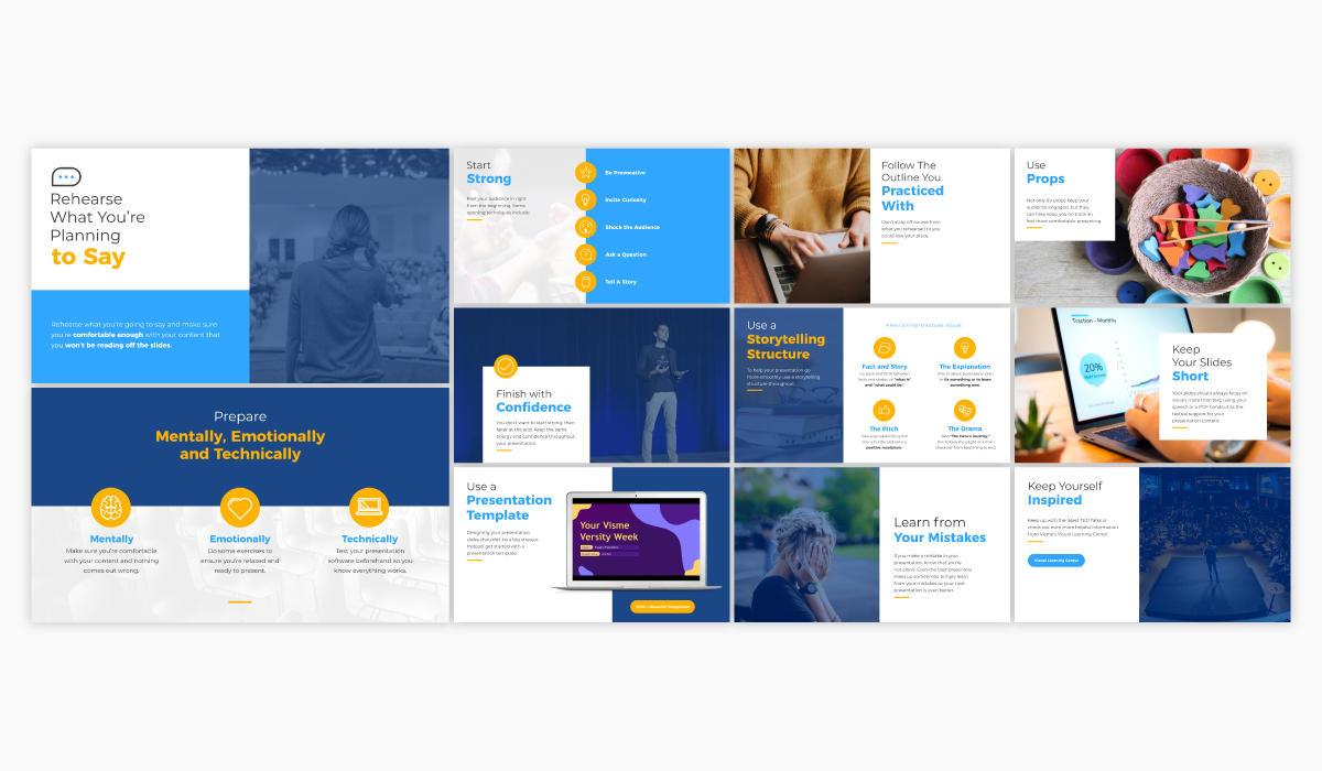 A keynote or informational presentation template available in Visme.