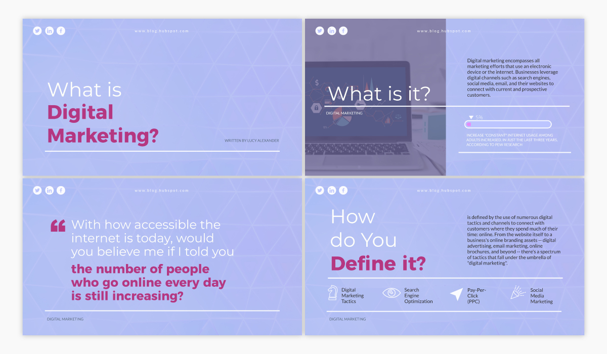 A presentation template available in Visme.