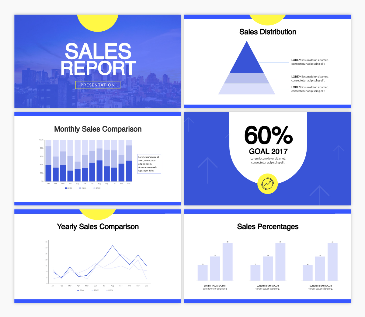 A sales report presentation template using the font Helvetica.
