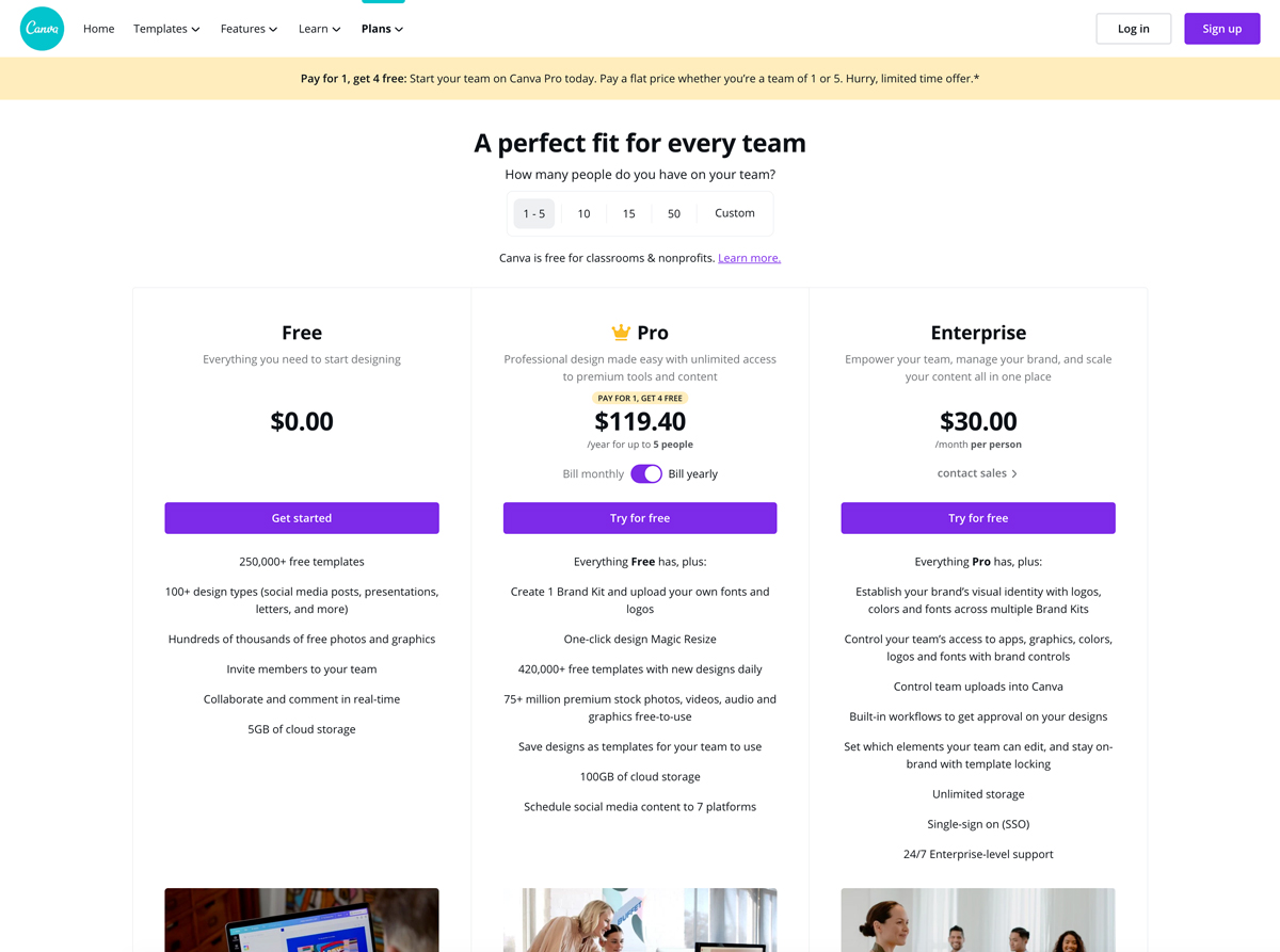 A screenshot of Canva's pricing plans.