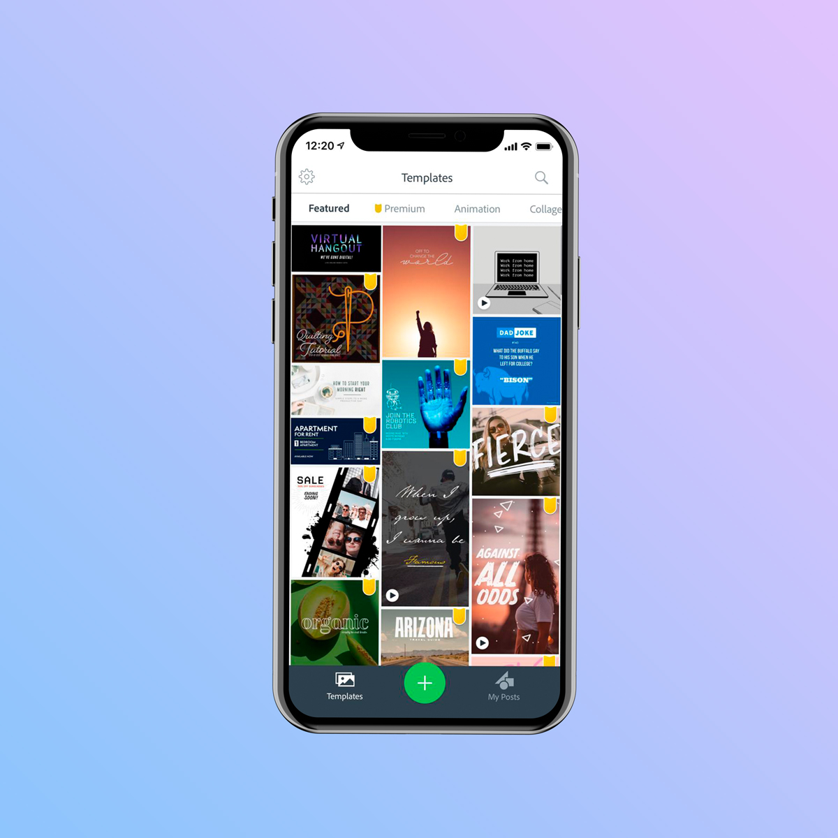 A screenshot of Adobe Spark's Mobile App.