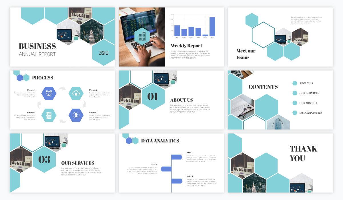 A business report presentation template available in Visme.