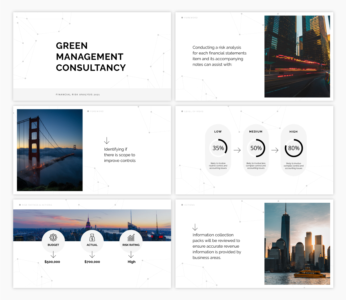A consultancy presentation template using the font Raleway.