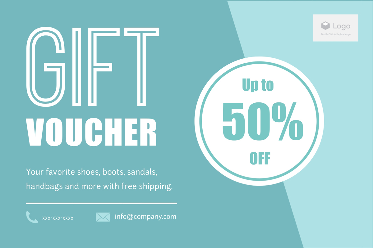 A 50% off gift voucher template available in Visme.