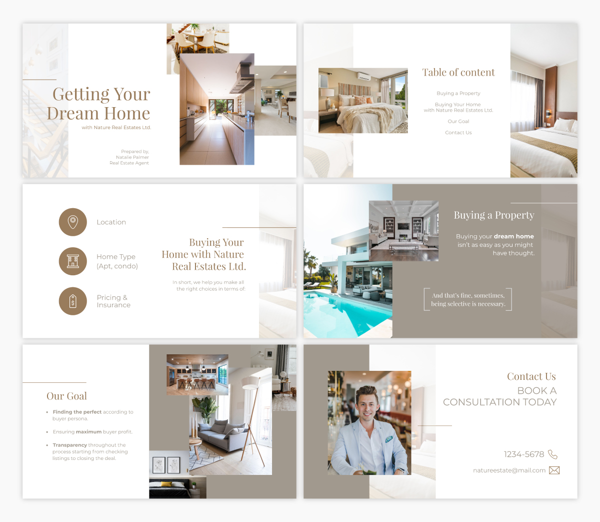 A real estate presentation template using the font Playfair Display.