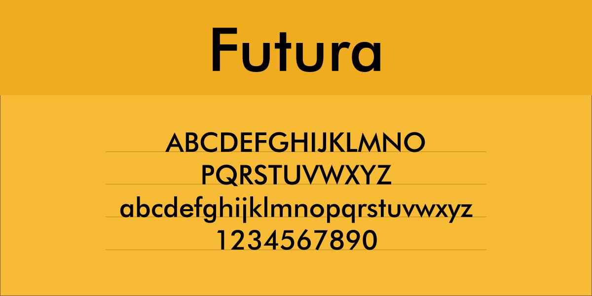The font Futura.