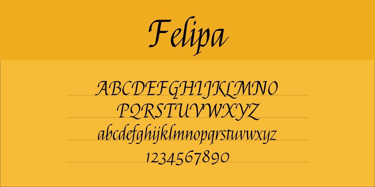 The font Felipa.