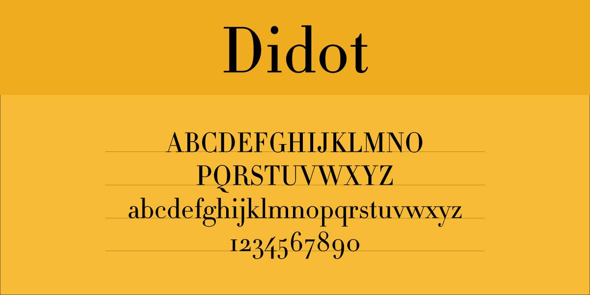 The font Didot.