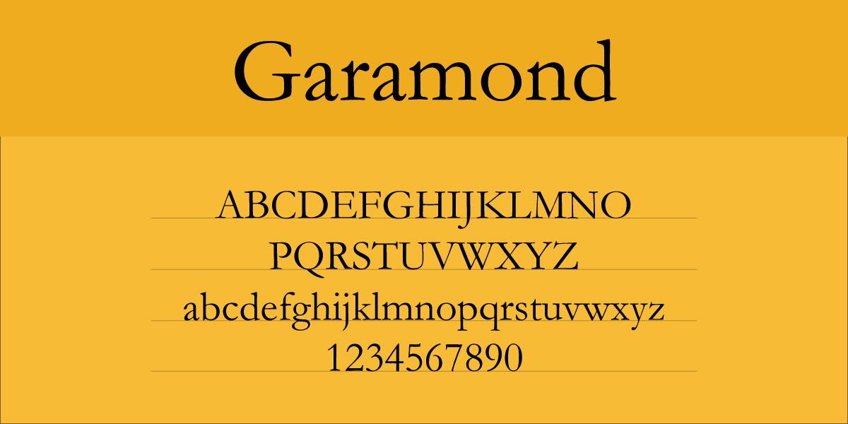 The font Garamond.