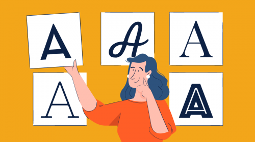 An illustration of a woman showcasing different types of fonts.