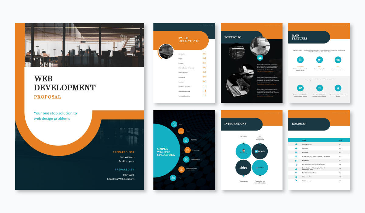 A web development proposal template available in Visme.