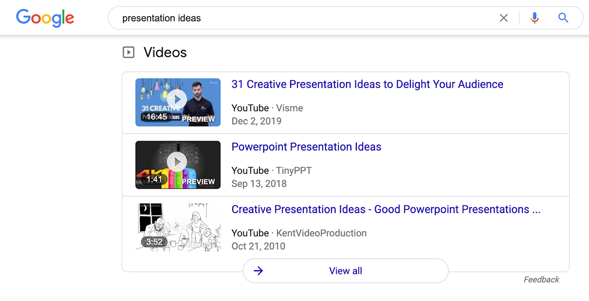 A screenshot of YouTube video results in Google.