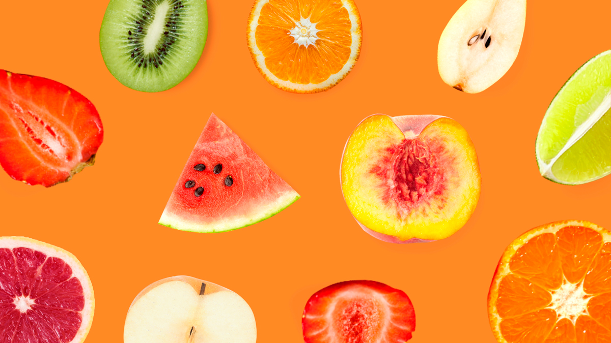 A fruity Zoom background template available in Visme.