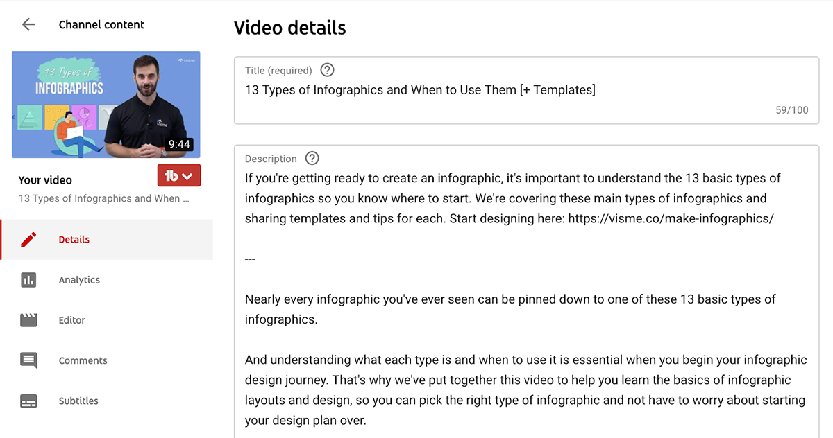A screenshot of the YouTube description in the video editor.