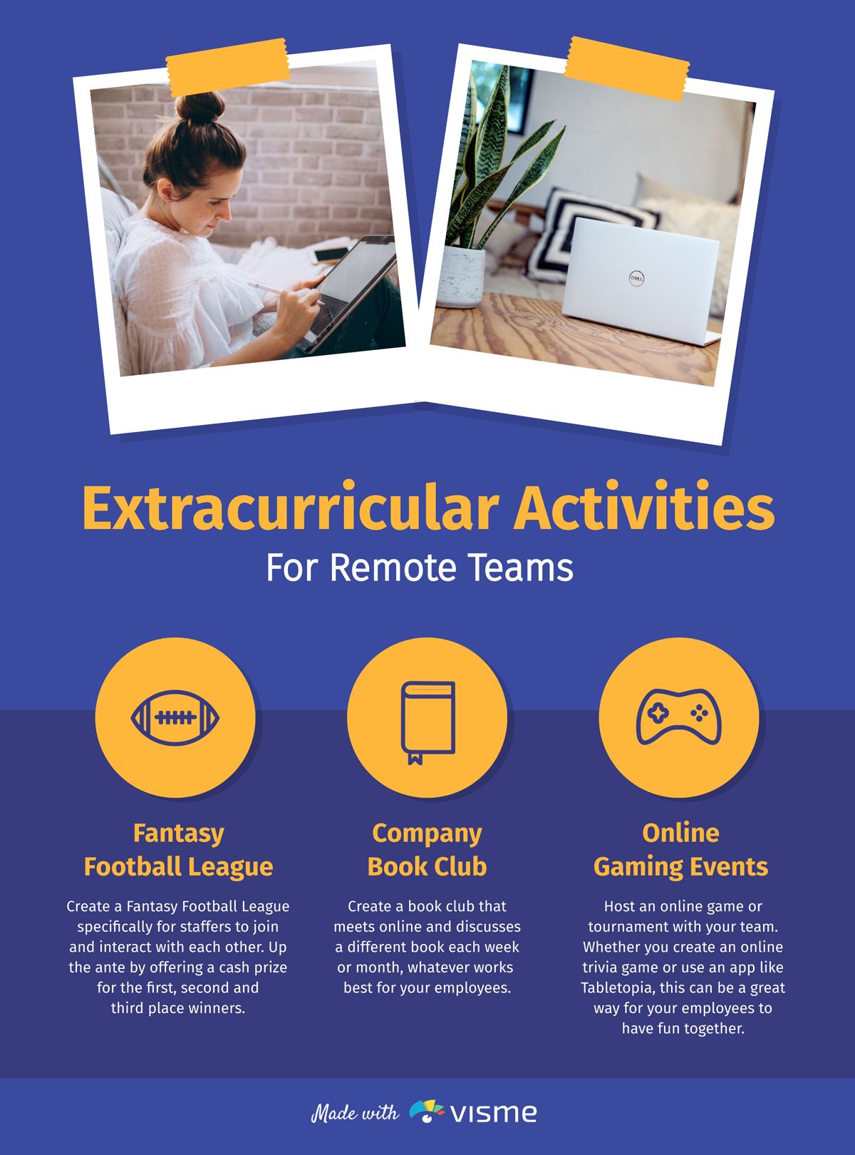 An infographic showcasing extracurricular activities for remote teams.