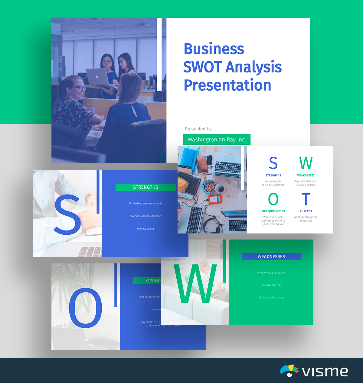 A blue and green business SWOT analysis template available in Visme.