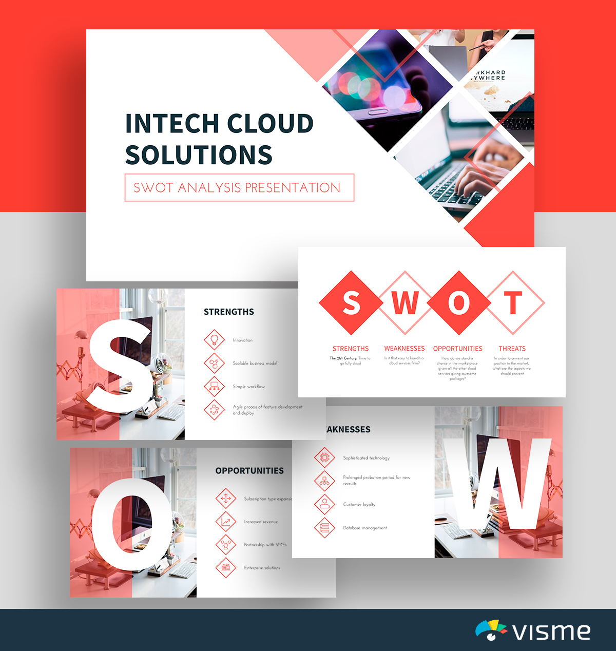 A white and pink cloud solutions SWOT analysis template available in Visme.