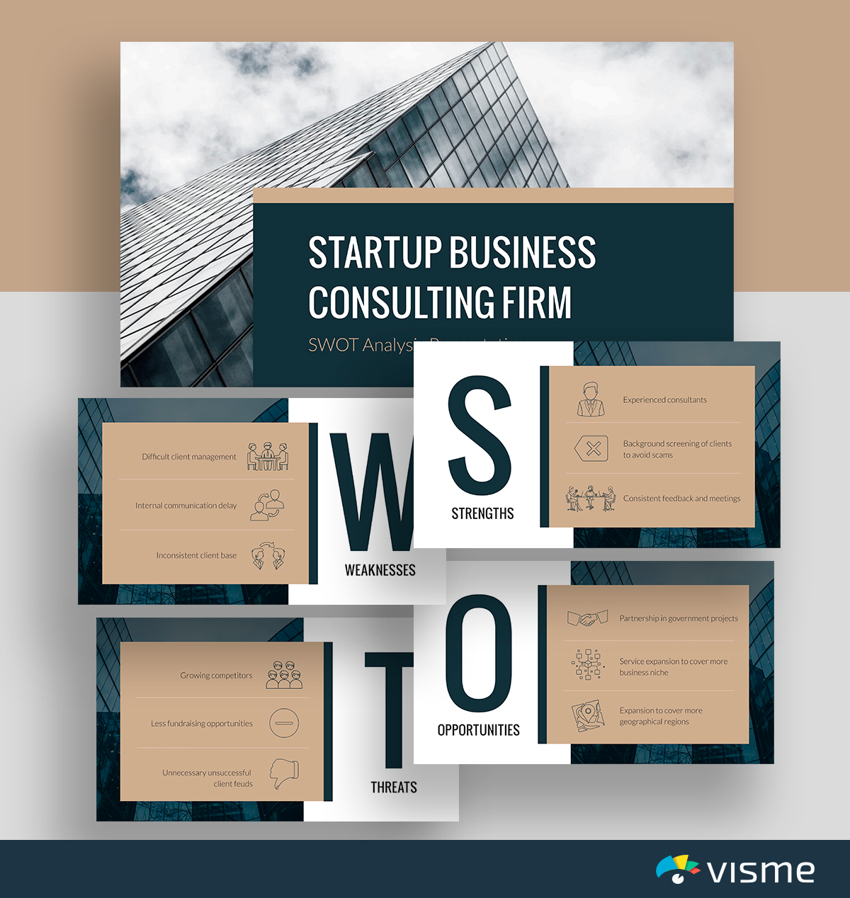 A black and brown consulting firm SWOT analysis template available in Visme.