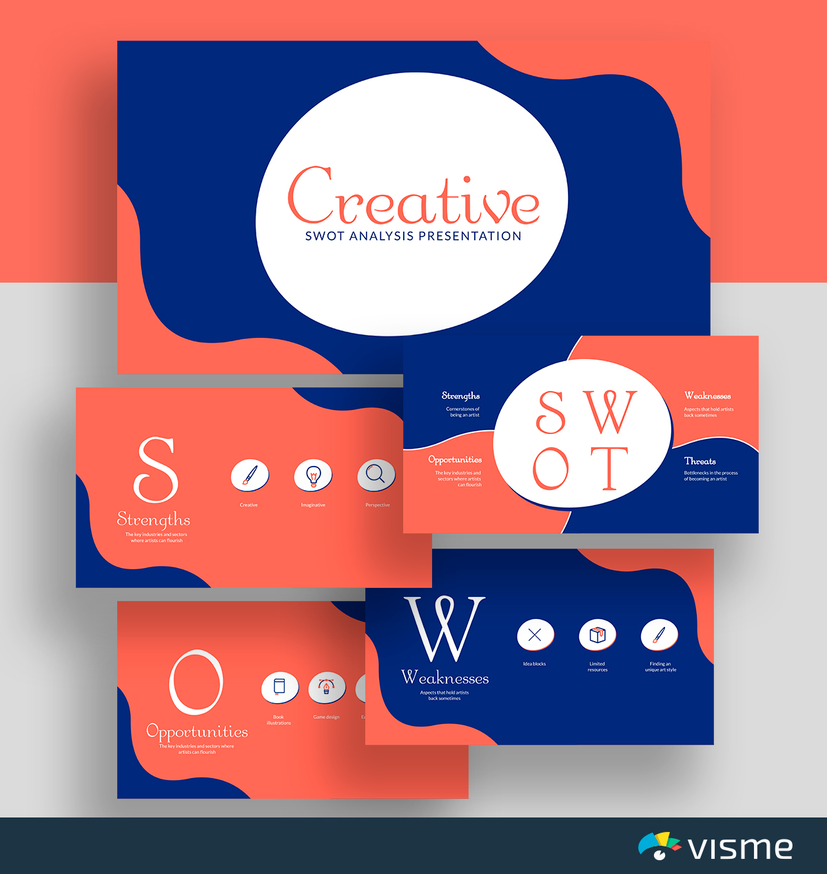 A blue and red creative SWOT analysis template available in Visme.
